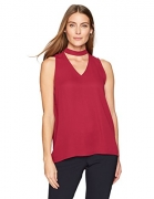 Lark & Ro Women's Choker Top, Berry, Medium.