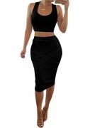 MSBASIC Women's Christmas Print Two Piece Short Crop Tank Top Skirts Set (Hat&Ring Green Medium) – Womens Skirt Best Price