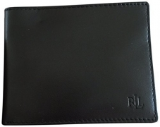Lauren Ralph Lauren Men's Soft Burnished Leather Passcase Bifold Wallet Black