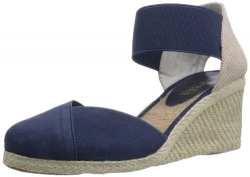 Lauren Ralph Lauren Women's Charla Wedge Sandal,Navy,9 B US