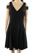 Lauren Ralph Lauren Womens Cut-Out Fit & Flare Cocktail Dress Black 10