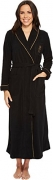 Lauren Ralph Lauren Women's Folded Fleece Long Robe Black/Gold Piping Medium