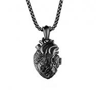 LBFEEL Stainless Steel Anatomical Organ Heart Pendant Necklace for Men With a Gift Box (Black)