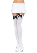 Leg Avenue Women's Opaque Thigh High Stockings with Satin Bow, White/Black, One Size.