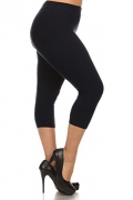 LMB Lush Moda Extra Soft Capri Leggings – Variety of Colors – Yoga Waist – Black – Women's Capris Best Price