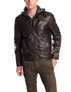 Chouyatou Men's Vintage Stand Collar Pu Leather Jacket (X-Large, RZQM888-Brown)