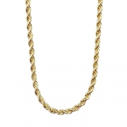 Lifetime Jewelry 3MM Rope Chain, 24K Gold with Inlaid Bronze Premium Fashion Jewelry Pendant Necklace Made to Wear Alone or with Pendants, Guaranteed for Life, 20 Inches