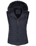 LIJYYJ Womens Quilted Lightweight Vest with Removable Hoodie 515_navy_furX-L cosy
