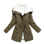 Liran Women's Winter Warm Wool Cotton-Padded Coat Parka Long Outwear Jacket US XX-Large Armygreen.