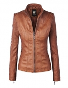 Chouyatou Fashion Studded Perfectly Shaping Faux Leather Jacket.