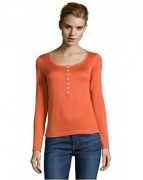 LORO PIANA 46 12 L orange cotton henley top Serafino.