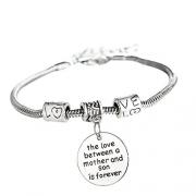 Melix Stainless Steel Mother Son Bangle Bracelet Adjustable , Gift For Mom From Son