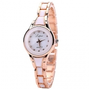 Lvpai Women's White Bracelet Wrist Watch Waterproof Two Tone Diamond Point Display P036 – Women's Watches Best Price