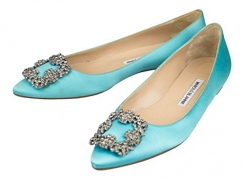 MANOLO BLAHNIK Turquoise Satin Hangisi Heels Shoes 8 US 38 EU.