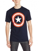 Marvel Captain America Men's 80's Captain T-Shirt, Navy, X-Large