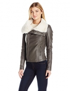 Fur Lined Drapey Front Faux Leather Jacket