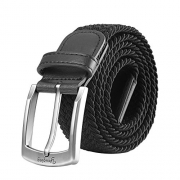 Men Belts, Elastic Braided Stretch Belt with Covered Buckle, for Jeans, Trouser Belts (Large, Black) – Men's Wallet Best Price