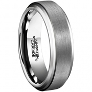 6mm White Tungsten Carbide Polished Classic Wedding Ring Size 9