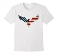 Mens Bestseller American flag Eagle tshirt Medium White