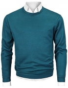 Men's Crew Neck Long Sleeve Pullover Knit Sweater Blue Large
