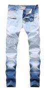 Men's Skinny Slim Fit Stretch Straight Leg Fashion Denim Jeans,Blue,W32x32L