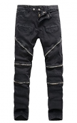 COLINNA Men's Moto Biker Vintage Distressed Ripped Slim Fit Skinny Stretch Denim Jeans