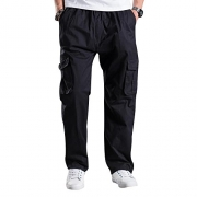 Mesinsefra Men's Full Elastic Waist Cargo Pants Black 38 – mens full elastic waist cargo pants