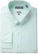 Michael Bastian Men's Slim Fit Spread Collar Dress Shirt, Banker Stripe/Grey/White, 15.5″ Neck 32″-33″ Sleeve