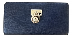 Michael Kors Hamilton Traveler Large Zip Around Leather Wallet (Navy)