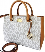 Michael Kors Kellen Medium Satchel Crossbody Bag Vanilla Acorn Brown