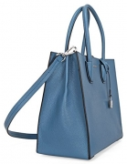 Michael Kors Mercer Large Bonded Leather Tote – Denim