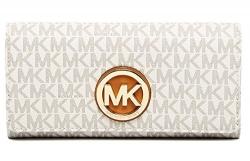 MICHAEL KORS PVC Leather Fulton Flap Continental Wallet, 32S7GFTE3B VANILLA
