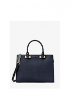 Michael Kors Quinn Large Saffiano Leather Satchel (Navy Blue)