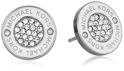 Michael Kors Silver Tone Logo Pave Stud Earrings