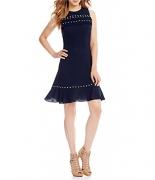 MICHAEL Michael Kors Stud and Ruffle Trim Flounce Hem Dress (M)