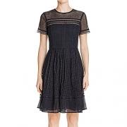 MICHAEL Michael Kors Womens Eyelet Mix Short Sleeves Casual Dress Navy 8