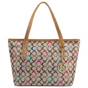Micom Casual Signature Printing Pu Leather Tote Shoulder Handbag with Metal Decoration for Women (C Signature).