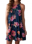 Oxiuly Women's V-Neck Cap Sleeve Floral Casual Work Stretch Swing Dress OX233 (M, Yellow).