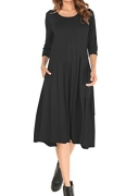 MOLERANI Women's 3/4 Sleeve A-line and Flare Midi Long Dress With Pockets Black M.