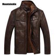 Mountainskin Leather Jacket Men Coats 5XL Brand High Quality PU Outerwear Men Business Winter Faux Fur Male Jacket Fleece EDA113