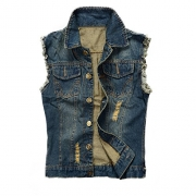 NASKY Men&Women's Fit Retro Ripped Denim Vest,Sleeveless Lapel Jean Vest and Jean Jacket,Waistcoat Top Vest Size XX-Large