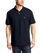 Nautica Men's Short Sleeve Solid Deck Polo Shirt, Navy, X-Large.