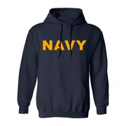 Navy NAVY Hooded Sweatshirt with gold print – X-Large