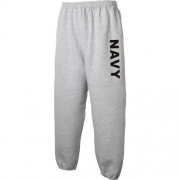 NAVY Sweat Pants – Military Style Physical Training Sweat Pants in Gray – Large
