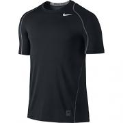 NIKE Men's Pro Fitted Short Sleeve Shirt, Black/Dark Grey/White, Large