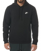 Nike Mens Sportswear Pull Over Club Hooded Sweatshirt – X-Large – Black/White