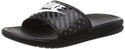 NIKE Womens Benassi JDI Slide Black/White Sandal 10 B - Medium