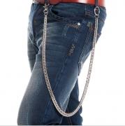 on sale Men's 84cm Long Silver Metal Cuban Curb Wallet Chain Classic Chunky Fashion Jeans Keychain Rock Biker Punk Key Chains