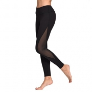 OngaSoft Womens Mesh Workout Leggings Yoga Pants W Waist Hidden Pocket(Black,L)