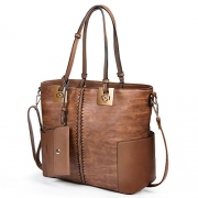 Iswee Lady Purse Top handle Leather Handbags Small Shoulder Bags Fashion Design Tote bag for Women and Girls (Sorrel).